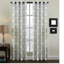 None - Grafton Geometric Print Grommet Top Curtain Panel - This printed grommet panel is styled with a printed geometric two-tonal design. Grommets are included for hanging ease and pattern display.