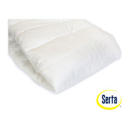 Serta - Perfect Day Outlast 100% Cotton Mattress Pad - Not Too Hot! Not Too Cool! Just Right! Featuring NASA space technology, the Serta Perfect Day Outlast Matress Pad provides for a tempurate-controlled sleep experience. 250 thread count, 100% cotton quilted pad is made with outlast layer comfort. Features: -100% cotton quilt, 250 thread count.-100% polyester fiberfill for soft supportive comfort.-Made with Outlast Smart fabric technology.-Reduces overheating by balancing temperature swings.-Extra deep fitted stretch skirt fits all mattresses up to 20'' thick.-Hypo-Allergenic.-Machine washable.-Collection: Serta Perfect Day.-Distressed: No.-Product Type: Mattress pad.-Color: White.-Material: 100% Cotton; Polyester.-Number of Items Included: 1.-Water Resistant: No.-Stain Resistant: No.-Fire Resistant: No.-Mold Resistant: No.-Bed Bug Resistant: No.-Dust Mite Resistant: No.-Hypoallergenic: No.-Removable Cover: No.-Machine Washable: Yes.-Pillow Top: Yes -Removable Pillow Top: No.-Pillow Top Material: 100% Cotton..-Memory Foam: No.-Quilted: Yes.-Baffled Box Stitching: No.-Fill Material: Polyester.-Fill Ounces per Yard: 6.-Fill Warmth: Mediumweight.-Thread Count: 200.-Temperature Control: Yes.-Fitted Sheet Compatible: Yes.-Firmness: Medium.-Incline: No.-Stretch Skirt: Yes.-Slip Resistant Skirt: Yes.-Swatch Available: No.-Commercial Use: No.-Recycled Content: No.-Eco-Friendly: No.-Product Care: No.-Recommended Mattress Thickness (Size: Twin): 15.-Recommended Mattress Thickness (Size: Queen): 20.-Recommended Mattress Thickness (Size: King): 20.-Recommended Mattress Thickness (Size: Full): 15.-Recommended Mattress Thickness (Size: California King): 20.Specifications: -UL Listed: No.-cUL Listed: No.-ETL Certified: No.-cETL Certified: No.-eko-Tex Standard Compliant: No.-CertiPUR-US Certified: No.-GOLS Compliant: No.-GOTS Compliant: No.-EuroLatex ECO-Standard: No.-Greenguard Certified: No.Dimensions: -Full: 54'' W x 75'' D.-Queen: 60'' W x 75'' D.-King: 78'' W x 80'' D.-Calif