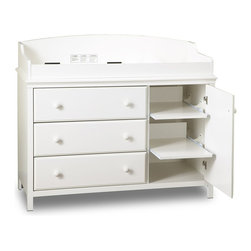 South Shore - Pure White Changing Table, Cotton Candy Colle - The larger version of our Cotton Candy collection changing table.  It has lots of storage space and will keep you organized with a door that covers two pull out shelves.  Then you also have three drawers with ceramic pulls.  Changing pad sold separately. * Manufactured from eco-friendly, EPP-compliant laminated particle boardcarrying the Forest Stewardship Council (FSC) certification. Pure white finish. Ceramic Handles. Plenty of drawer space. 2 pull-out shelves behind the door. Removable changing station. Profiled top, door and drawer fronts. Innovative drawer Smart Glides with lifetime warranty. Child-friendly safety catches on drawer glides. Meet ASTM stability requirements. Change pad sold separately. Manufactured from engineered-wood products. Made of engineered wood from 100% recycled wood fiber. 5-year warranty. Assembly required48 in. W x 20 in. D x 40 in. H