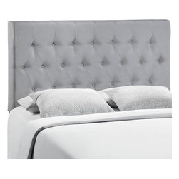 LexMod - Clique Queen Headboard in Gray - Deep tufted buttons patterned in a dazzling array adorn the Clique headboard series. Clique adds depth and elegance to a decor built on an uncomplicated style of fine lines and carefully implemented design elements. Clique is made from fiberboard, solid wood, and fine linen upholstering for a construction that is both lightweight and long-lasting. Introduce Clique to your contemporary bedroom for restful nights supported by a collaborative design. Fits queen size beds. Available in a variety of colors.