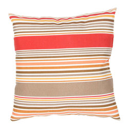 """Jaipur Rugs - Red/Taupe color polyester od deck chair stripe poly fill pillow 18""""x18"""" - These fashion forward pillows, in trellis, stripes and whimsical patterns are for both indoor and outdoor use."""