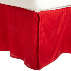 300 Thread Count Egyptian Cotton Twin Red Stripe Bed Skirt - 300 Thread Count Egyptian Cotton Twin Stripe Red Bed-Skirt
