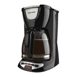 Applica - Black & Decker 12 Cup Programmable Coffeemaker Glass Carafe Black - Black and Decker stylish and sneak a cup feature. This is perfect for the home office or practically anywhere you want fresh and hot coffee at the touch of a button. All this plus an easy clean control panel and dishwasher safe removable parts for effortless clean up. 12 cup capacity and quick touch programming.