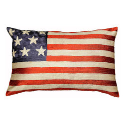 "Modern Silk - American Flag Pillow Cover Hand Embroidered 13"" x 21"" - Expertly handcrafted chain-stitch embroidery pillow design of American Flag.The entire cotton base of the pillow is overlaid with soft art silk, stitch by stitch, creating an extraordinary show piece for your decor. This is world-class workmanship created to enhance your world with dynamic color and motif."