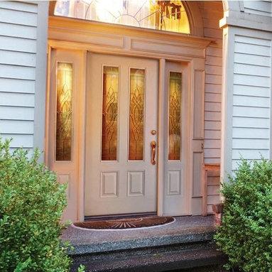 Smooth Skin Fiberglass Door Series - 3/0 x 6/8 Smooth Skin Series: 3/4 Four Panel Twin Lite w/ Brentwood Doorlites ---