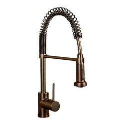 "Artesano Copper Sinks - Pre Rinse Kitchen Faucet - Pre Rinse Kitchen Faucet, 19.7"" high, NTK Ceramic Disc, 2.2 GMP aerator, 360 swivel spray head holder bar, single hole base ring fit 1 3/8 to 2"" hole"