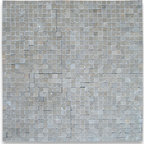 """Stone Center Corp - Seagrass Limestone Tesserae Mosaic Tile 3/8x3/8 Honed - Seagrass Limestone 3/8"""" x 3/8"""" square pieces mounted on 12"""" x 12"""" sturdy mesh tile sheet"""
