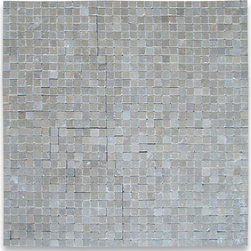 "Stone Center Corp - Seagrass Limestone Tesserae Mosaic Tile 3/8x3/8 Honed - Seagrass Limestone 3/8"" x 3/8"" square pieces mounted on 12"" x 12"" sturdy mesh tile sheet"