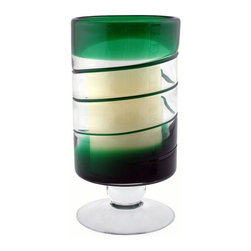 Home Decorators Collection - Venezia Flameless Candle - Add a luminous twist and a splash of color to any decor with this hand-blown glass hurricane. The footed hurricane base gives a flameless pillar candle the pedestal treatment, so you can experience the warm glow of candlelight without worry or mess. The battery-operated candle has a timer that allows you to choose between four and eight hour glow times, so update your home with style and order today. Hand-blown glass hurricane. Battery operated.