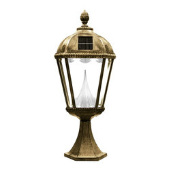 Gama Sonic - Gama Sonic GS-98P Royal Solar Lamp Post Mount Weathered Bronze - Go Green with our Royal Solar Lamp Posts. This solar powered lamp will fit great on pillars, columns, and decks.