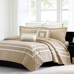 Madison Park - Madison Park Columbia 7-piece Quilted Coverlet Set - You'll love snuggling with this seven-piece quilted coverlet set. This prewashed set is crafted from 100 percent polyester micro-fiber and is filled with cotton. It comes with everything needed for a complete bedroom makeover,right down to the pillows.