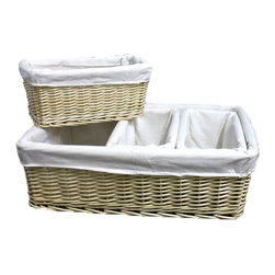 Willow Baskets with Fabric Lining - Set of 4 - Add some natural style to the home with this set of Willow Baskets with Fabric Lining, These beautiful baskets are made of wicker, each basket is lined with a cloth material.