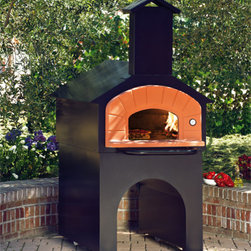 """Pizza Ovens - Wood Burning brick hearth pizza oven made in Italy. Made up of refractory stone and stainless steel. The Forno Vero dimensions are 82"""" H x 42"""" W x 54"""" D. In stock and can ship anywhere in the United States."""