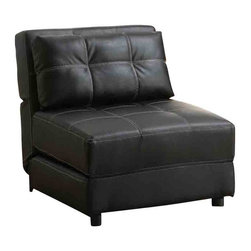 """Adarn Inc - Accent Seating Contemporary Armless Lounge Chair/Sofa Bed - This dual purpose contemporary armless chair offers comfort and style as well as versatility to a living room, guest bedroom, or kid's room. The chair's durable black leather-like vinyl gives the chair a sleek appeal to any decor. Perfect for lounging, a guest, or a sleepover, this chair will offer tons of function to your space. For added comfort the back cushion acts as a pillow when folded out as a bed. The black faux leather tufted design is accented with white decorative stitching.Dimensions as bed: 28.50""""L x 73.25""""W x 8.00""""H"""