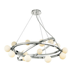 "Access - Nitrogen Cable Articulating Chandelier - In a brilliant chrome finish this eye-catching chandelier has a distinctive molecular look. Fifteen halogen lights shine within opal glass to illuminate your decor. Chrome finish. Opal glass. Includes fifteen G9 halogen bulbs. 38"" wide. 20"" to 120"" adjustable height. Includes 10 feet of wire and cable. 6"" canopy. Hang weight of 25 lbs.  Chrome finish.   Opal glass.   A large chandelier ideal for oversized rooms.  Includes fifteen G9 halogen bulbs.   38"" wide.   20"" to 120"" adjustable height.   Includes 10 feet of wire and cable.   6"" canopy.  Hang weight of 25 lbs."