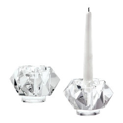 Lazy Susan - Faceted Star Crystal Small Candleholders, Set of 2 - Faceted Star Crystal Small Candleholders, Set of 2