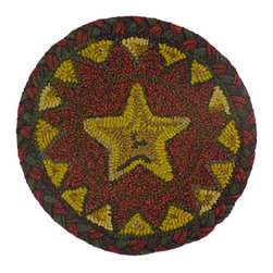 """Homespice Décor - 15"""" x 15"""" Star Point Red Chair Pad - Our hand hooked chair pads make great accents for your country primitive home decor. These unique chair pads combine old world hooking techniques with interesting designs to provide an exciting new decorating element.  Trim, never pull loose ends. What may appear as an irregularity color or construction is actually part of the """"Handmade"""" look."""
