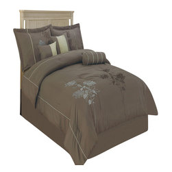 Bed Linens - Tomahawk Moca 7-Piece Comforter set, Queen Size - Material : 100% Polyester Face, Backing & Filling.
