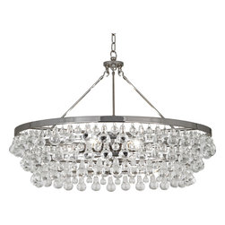 Robert Abbey - Bling Chandelier, Polished Nickel - Bust out the ballroom bling in your own home! Suspend this glass dropped chandelier in your chambers and invite the neighborhood over for a cotillion, conga line or krumping dance party!