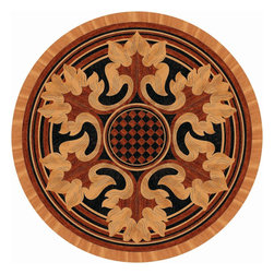 Hardwood Floor Medallion - Hardwood medallion is made using Pear, Wenge and Merbau woods. Wood floor medallion is available in various sizes. It can be installed in new or existing floors.