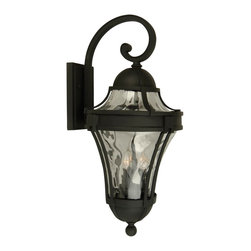 Exteriors - Exteriors Parish Traditional Outdoor Wall Sconce - Medium X-50-4124Z - You won't be able to take your eyes off of this medium-sized Craftmade Parish Traditional Outdoor Wall Sconce once you see it hanging on your wall. It features a frame with a beautiful matte black finish, and panels of clear, hammered glass. It's a wonderful three-light piece for most any outdoor space, such as your driveway, porch or garden.