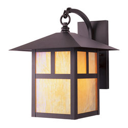 Livex Lighting - Livex Lighting 2133 1 Light 100W Outdoor Wall Sconce with Medium Bulb Base and I - 1 Light 100W Outdoor Wall Sconce with Medium Bulb Base and Iridescent Tiffany Glass from Montclair Mission SeriesProduct Features: