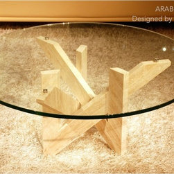 """MARBLE COFFEE TABLE 39""""x15"""" TRAVERTINE-ARABESQUE - Reference: CT202+CT202GLASS"""