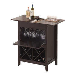Wholesale Interiors - Tuscany Brown Modern Dry Bar and Wine Cabinet - This handsome little wine cabinet makes impromptu guests or celebrations a breeze! The Tuscany Modern Dry Bar houses a small collection of wines, up to 10 wine glasses, and more. The cabinet door shelters wine glasses from the risk of accidental breakage. Use the top to display decor or bottles of spirits and then slide the two panels apart to reveal an open compartment for storage of any other necessities. The cabinet is made from MDF with rubber wood veneer and finished with a dark brown stain and silver hardware. To clean, wipe with a dry cloth. Made in Malaysia, assembly is required.