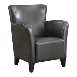 Monarch Specialties - Monarch Specialties 8077 Leather-Look Club Chair in Charcoal Gray - With its high back and curvaceous frame, the Europa club chair will be a stylish addition to any room in your home. A sinuous spring base and curved seat back provide supportive comfort, while bold track arms and a deep, slightly scooped seat surround you in modern style. Tapered block style wooden feet anchor the base of the chair complimenting the rich grey leather-look feel.