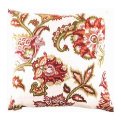"Canaan - 24"" x 24"" Yvette Damask Victorian Floral Print Throw Pillow - Yvette Damask Victorian floral print pattern throw pillow with a feather/down insert and zippered removable cover. These pillows feature a zippered removable 24"" x 24"" cover with a feather/down insert. Measures 24"" x 24"". These are custom made in the U.S.A and take 4-6 weeks lead time for production."