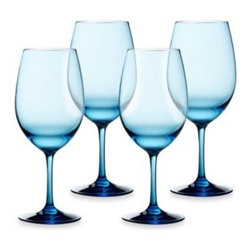 Lee's Group International Co., Ltd - Cool Blue 21-Ounce White Wine Glasses (Set of 4) - Stock your bar area with these contemporary classic glasses with a cool clue hue. Crafted in durable tritan glass for a casually sophisticated entertaining option.