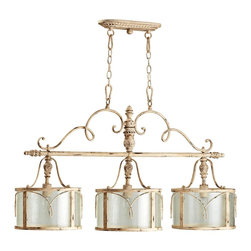 "Quorum - Traditional Quorum Salento 3-Light 42"" Wide White Island Chandelier - The architecture of Salento Italy is richly influenced by baroque and rococo styles. The old-world Salento Collection from Quorum lighting shares elements of these ornate styles and reworks them to seamlessly brighten many of today's popular home decor styles. This Parisian white island chandelier features leaf motifs scrolling accents and asymmetry that are all derived from the rococo influence. Parisian white finish. Takes three maximum 100 watt bulbs (not included). Design by Quorum Lighting. 42"" wide. 11 1/2"" deep. 22 3/4"" high.  Parisian white finish.  A large chandelier ideal for oversized rooms.  Takes three maximum 100 watt bulbs (not included).  Design by Quorum Lighting.  42"" wide.  11 1/2"" deep.  22 3/4"" high."