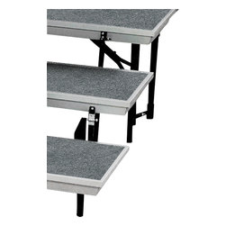National Public Seating - National Public Seating Transport 3-Level Tapered Riser in Gray - The trans-port unit by National Public Seating eliminates the need to setup multi level risers. The trans-port is a unitized three-level carpeted choral riser that conveniently allows set-up in seconds. The trans-port folds up into a compact package that transports easily with it's built in rolling casters, making it easy to transport from room to room and load into a vehicle. Built with 14 gauge legs our unit is strong, safe and durable. The trans-port is built with a sturdy aluminum frame, making it much lighter than a steel frame unit but is just as strong. Connect multiple straight or tapered units to create a variety of configurations. Neutral gray carpet surface on a gray frame. Available in straight and tapered models, with optional guard rails for use in open areas where the risers are not backed up to a wall.
