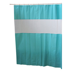 Peva + Laser Shower Curtain Aqua - This laser shower curtain for bathrooms is in Peva (50 % Eva and 50 % polyethylene). It has a large horizontal laser strip, which allows to bring in useful light inside the shower. Reinforced grommets and header along the top make it durable enough for long-lasting satisfaction (12 shower rings needed, sold separately). It will fit perfectly in your shower or bathtub. Prior to hanging, immerse curtain in a bath of warm water to help remove creases. Cleaning with soapy water only. Width 71-Inch and height 79-Inch. Color solid aqua. This shower curtain is perfect to add a modern touch to your bathroom! Complete your decoration with other products of the same collection. Imported.