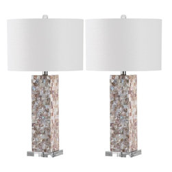Safavieh - Karima Table Lamp - Naturally elegant, the set of two Karima table lamps features a rectangular column base finished with a mosaic of capiz shell tiles.  A white textured cotton drum shade sits atop this transitional lamp, replete with a clear acrylic pedestal and finial.