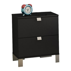 South Shore - South Shore Affinato Nightstand in Solid Black Finish - South Shore - Nightstands - 3270060 - With its solid black finish and sleek, clean lines, the spacious South Shore Affinato Nightstand will enhance any kids bedroom. Fitted with elegant angled metal handles and front metal legs, this superb nightstand offers two practical drawers for keeping your kid's nighttime necessities within arms reach. Distinctly contemporary in style, the Affinato Nightstand is sure to fit comfortably along side your kid's bed.