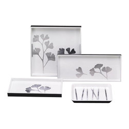"Belle & June - Ginko White/Silver Cocktail Tray - The elegant and sophisticated Gingko Tray Collection is a perfect complement for many luxury home decor themes. Dimensions: 17"" x 7"" x 1"""