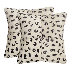 """Safavieh - Beau Cowhides Pillow - Leopard - 18"""" x 18"""" (Set of 2) - Add a touch of glamour to the living room or master suite with Beau cowhide pillows printed to look like snow leopard. A patchwork of four cowhide squares creates an additional layer of texture in this set of two decorative pillows with suede backing. (Sold in set of 2)."""