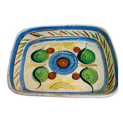"""Mexican Hand Painted Platters - Vintage 1950's hand painted latter. Marked """"Made in Mexico. Great colors and painting style. Ethnic and folk art inspired."""