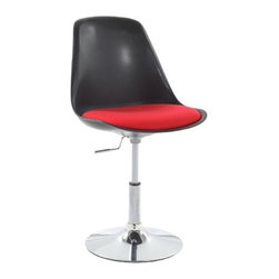 Fine Mod Imports - Lilly Side Chair in Black - Set of 2 - Set of 2. Contemporary style. Molded abs frame. Fire retardant polyurethane foam. Removable suede cushion upholstery. Swivel heavy chrome base. Height adjustable. Warranty: One year. Assembly required. Seat: 18.5 in. H. Overall: 20 in. W x 21 in. D x 32 in. H (19 lbs.)