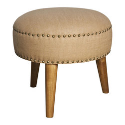 """Noir - Noir Devan Ottoman - The Noir Devan ottoman hits sophisticated style on the mark. Atop splayed wooden legs, the foot stool's round burlap form features metallic detailing for alluring modernity. 19""""W x 19""""D x 16.5""""H; Dark walnut; Burlap; Metallic nailhead trim"""