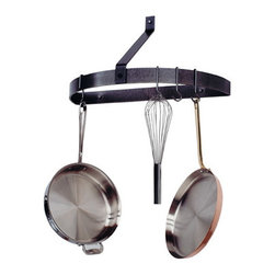 """Enclume - Premier Wall Mounted Half Circle Pot Rack, Hammered Steel - Dimensions: 25""""L x 12""""D x 15""""H"""