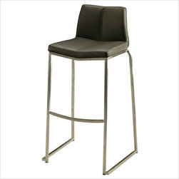 "Pastel Furniture - Pastel Daqo Barstool - Stainless Steel - PU Black - 26 Inch - The contemporary beautifully made Stainless steel barstool has a simple yet elegant design that is perfect for any decor. An ideal way to add a touch of modern flair to any dining or entertaining area in your home. This barstool features a quality metal frame with sturdy legs and foot rest Finished in stainless steel. The padded seat is upholstered in PU black offering comfort and style. Available in 26"" counter height or 30"" bar height."