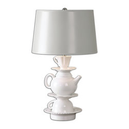 Uttermost - Tea Time White Glaze Lamp - Ceramic base finished in a high gloss white glaze accented with polished nickel plated details. The tapered round hardback shade is hand painted in a light gray. Due to the nature of fired glazes on ceramic lamps, finishes will vary slightly.