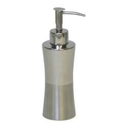 Stainless Steel Soap Dispenser Hammer Shiny Finish Chrome - This elegant soap dispenser for bathrooms is in stainless steel and adds a contemporary look and feel to your decor. This hammered shiny finish soap dispenser is a lovely accent for any bathroom, its shape is flared upward with a diameter of 2.17-Inch and a height of 7.48-Inch. The chrome-plated top unscrews for refilling with soap or lotion. Wipe clean with soapy water. Color chrome. Accessorize your bathroom countertop in a trendy style with this charming soap dispenser! Complete your decoration with other products of the same collection. Imported.