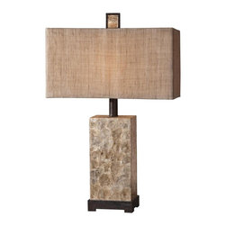 "Uttermost - Uttermost Rustic Pearl Table Lamp 9 x 18 x 29"", Mother of Pearl - Antiqued Mother of Pearl shell with rustic dark bronze details and matching finial. The rectangle box shade is burlap textile with natural slubbing.Designer: Billy MoonWattage: 100WDimensions: 9"" depth by 18"" width by 29"" heightMaterial: resin/metal/shell"