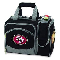 Picnic Time - San Francisco 49ERS Malibu Picnic Pack in Black - Insulated pack with picnic service for 2 made of 600D polyester canvas. The elegant and unique Malibu shoulder pack is perfect for picnics, concerts, or travel. This tote has an integrated wine storage section and a spacious food storage section with removable liner. The adjustable shoulder strap makes it easy to carry. A wonderful gift idea.; Decoration: Digital Print; Includes: 2 Wine glasses (acrylic), 2 Napkins (cotton 14 x 14 in.), 1 Corkscrew (waiter style stainless steel), 1 Cutting board (wood 6 x 6 in.), 1 Cheese knife (stainless steel w/wood handle), 2 Plates (melamine 9 in.), 2 Ea. Knives forks & spoons (stainless steel), 2 Napkins (cotton 14 x 14 in.)