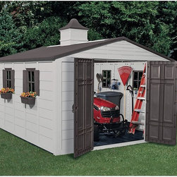 Suncast - Suncast 10.5 x 12.5 ft. Garden Shed Multicolor - A01B37C03 - Shop for Sheds and Storage from Hayneedle.com! Dimensions:Exterior dimensions: 10.43W x 12.69D x 9.58H feetInterior dimensions: 9.75W x 12.08D x 7.03H feetDoor dimensions: 4.67W x 5.73H feetBoasting 775 cubic feet of space the Suncast 10.5 x 12.5 Foot Storage Building is large enough to store your tractor gardening tools lawn furniture trash cans and more. The durable resin construction means it will look like new year after year will never peel or warp and will never need to be sanded or painted. Designed to withstand the harshest elements this shed will stay dry at all times. Double doors allow easy access to the inside while lockable doors with upper and lower latches ensure the security of your property. A skylight lets in enough natural light to make your way around during the day and a charming cupola on the roof gives this shed a softened look. Four windows with shutters and window boxes give this shed a cozy feel. Clean lines attractive taupe and bronze color and versatile function make this storage building the perfect backyard storage solution. Assembly is a weekend project for one or two people.About Suncast CorporationSuncast is known for its high-quality low-maintenance storage products and accessories. Organize gardens back yards garages basements and more. Suncast's full line of products includes everything from storage lockers to sheds and bins. Suncast pieces are designed for low-maintenance worry-free performance that's versatile enough to suit your every need.
