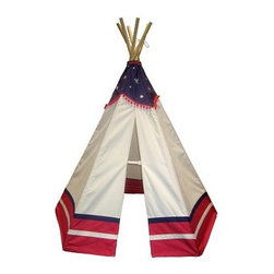 Dexton 6 ft. American Teepee - Kids will love to create their own adventures with the Dexton 6 ft. American Teepee. Made with a durable canvas fabric, this teepee-style tent features a patriotic color pattern in red, white, and blue with stars. Perfect for indoor or outdoor play, it's water-repellent, fire-resistant, and easy to set up.About DextonDexton has been manufacturing distinguished, high-quality children's musical instruments and ride-ons for over 10 years. Located in the Orange County area of Southern California, its factories produce 50 of the most popular musical instruments to professional standards that music teachers prefer. Dexton also produces a wide assortment of battery-powered and pedal car ride-ons, as well as children's furniture. Dexton uses the highest-quality wood, leather, and chrome-plated steel when manufacturing its safe, kid-friendly products.