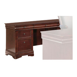 Wynwood - Wynwood Rue de Lyon Credenza in Cognac Cherry - For use as a secondary work space in your home office or even your main  work area, this Rue de Lyon Credenza by Wynwood Furnitures features a kneehole opening which gives a traditional  look with amazing built-in functionality. The storage includes a  drop-front, pull-out center drawer with pencil tray, the left pedestal  features a box drawer, a box with adjustable dividers, and file drawer.  The right pedestal features a box drawer and a CPU compartment with an  adjustable shelf in right pedestal. The CPU compartment is ventilated  and cable accessible that makes a great spot to store your computer but  keep it out of view for a sophisticated look. Use the hutch on top of  the credenza for added storage and display.